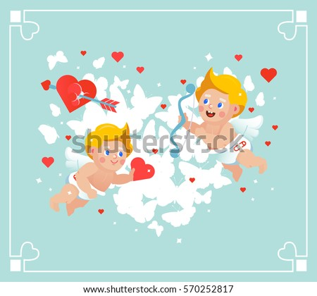 vector valentines flying cupids