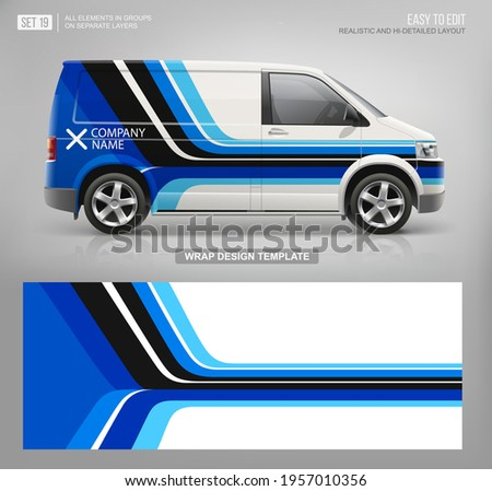 Vector Van mockup and wrap decal for livery branding design and corporate identity company. Abstract graphic of blue stripes Wrap, sticker and decal design for services van  and racing car