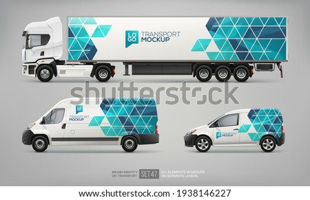Vector Van, semi truck trailer  branding design and corporate identity mockup template . Abstract graphic of blue geometric design for transport. Transport branding. Realistic services Cars mockup