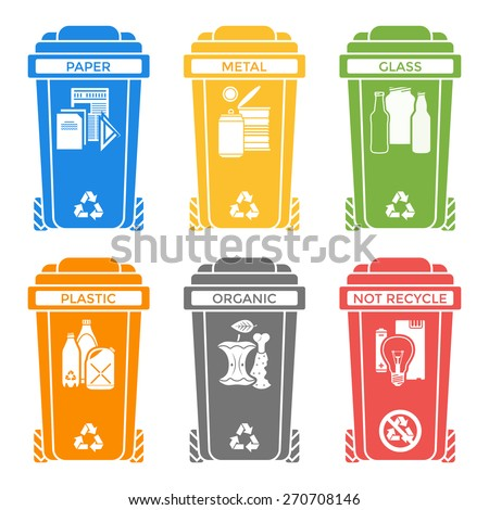 vector various colors separated recycle waste segregation bins paper plastic battery metal glass organic paper hazardous solid icons labels signs white background