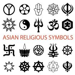vector. various religious symbols asian