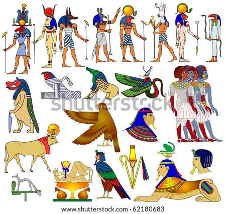 Vector various themes of ancient Egypt