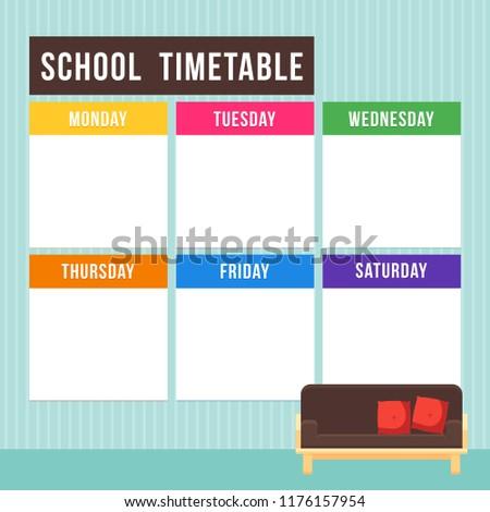 Vector - Vector school timetable, weekly curriculum design template