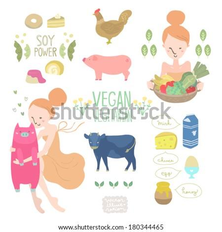 Vector Vegan&Vegetarian Illustrations set