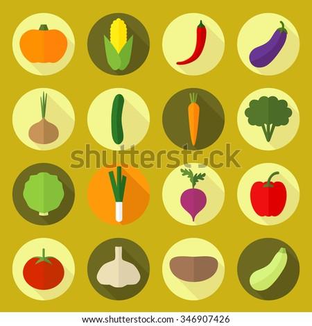 Vector vegetable colorful icons. Beet, avocado, paprika, onion, eggplant, broccoli, tomato, carrot, potato.