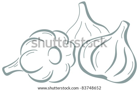 Vector, vegetable: three garlics, monochrome symbolical pictogram - stock vector