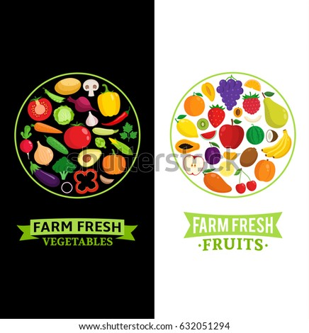 Vector vegetables and fruits badges. Fruits and vegetables icons for groceries, agriculture stores, packaging and advertising