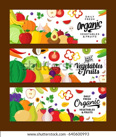Vector vegetables and fruits horizontal banners. Fruits and vegetables icons for groceries, agriculture stores, packaging and advertising