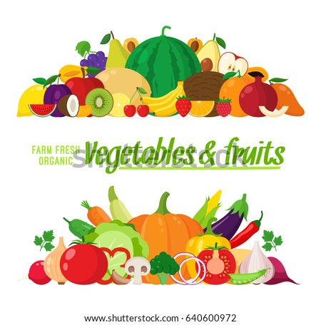 Vector vegetables and fruits illustration. Fruits and vegetables icons for groceries, agriculture stores, packaging and advertising