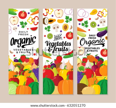 Vector vegetables and fruits vertical banners. Fruits and vegetables icons for groceries, agriculture stores, packaging and advertising