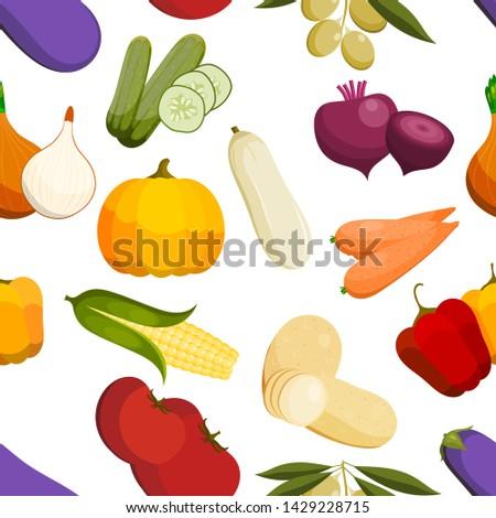 vector vegetables healthy tomato, carrot, potato vegetarians pumpkin organic food modern vegetably webshop illustration vegetated symbols background