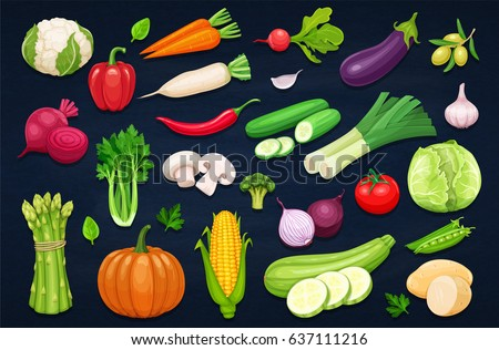 Vector vegetables icons set in cartoon style. Collection farm product for restaurant menu, market label. #637111216
