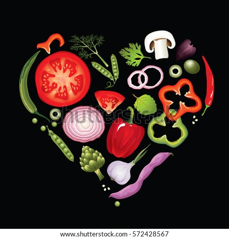 Vector vegetables in the heart shape. The idea for menu of a vegetarian raw food restaurant or healthy lifestyle infographics. Unusual concept.