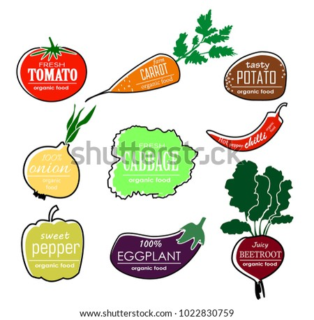 Vector vegetables logo. Set. Color vegetables silhouettes with lettering