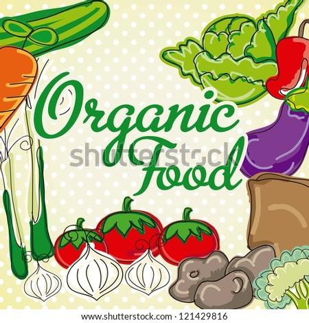 Vector vegetables on vintage background. Organic food.