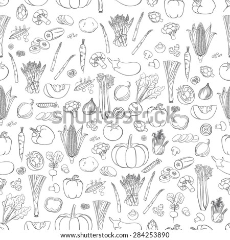Vector vegetables pattern. Vegetables seamless background #284253890