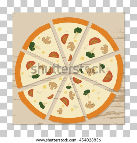 vector vegetarian pizza on table