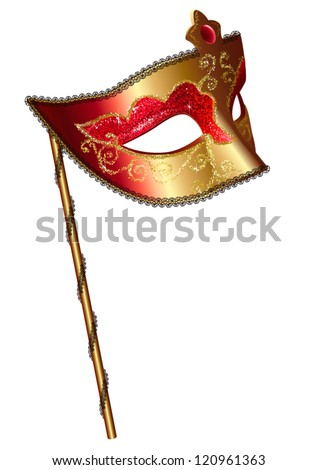Vector venetian carnival mask with handle