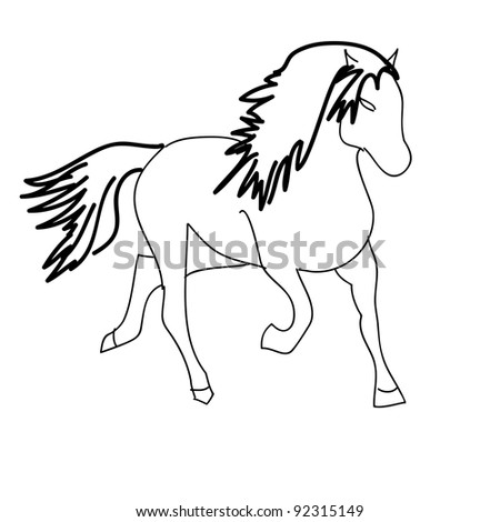 Vector version. Black horse silhouette isolated on white for design.