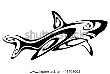 Black shark tattoo for design isolated on white. Jpeg