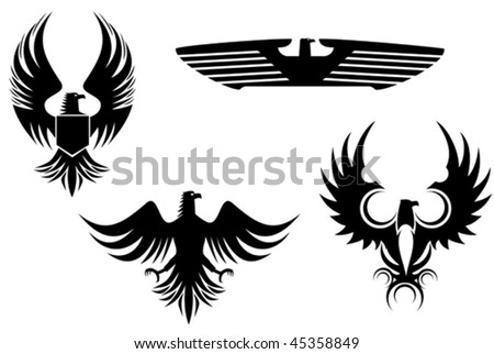Eagle symbol isolated on white for tattoo design. Jpeg