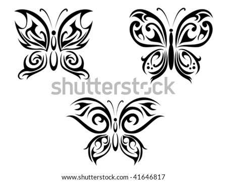 Vector version. Isolated tattoos of butterfly on white background