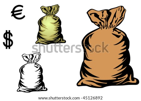 Vector version. Money bag in three variations with currency symbols for design. Jpeg version is also available