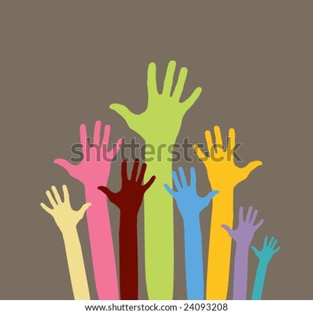 vector version of happy volunteering  hands - part 1