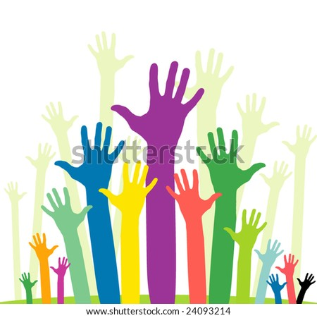 vector version of happy volunteering  hands - part 2