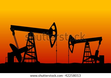 Vector version. Oil derricks on sunset as a concept of oil industry