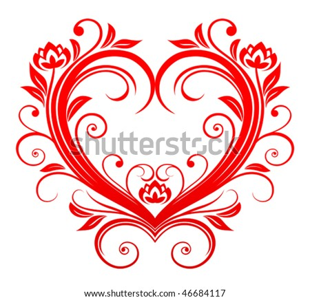 picture of valentine heart. Red valentine heart in floral