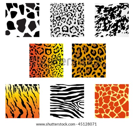Vector version. Set of animal fur and skin patterns for design. Jpeg version is also available