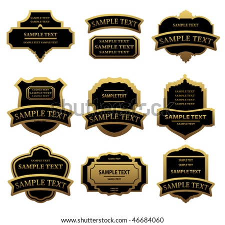 Vector version. Set of golden labels and frames for design food and beverages. Jpeg version is also available