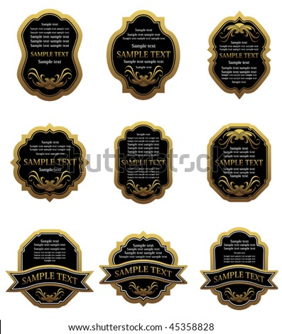 Vector version. Set of vintage gold labels for design food and beverages. Jpeg version is also available
