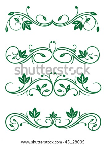 Vector version. Vintage floral decorations isolated on white for design. Jpeg version is also available