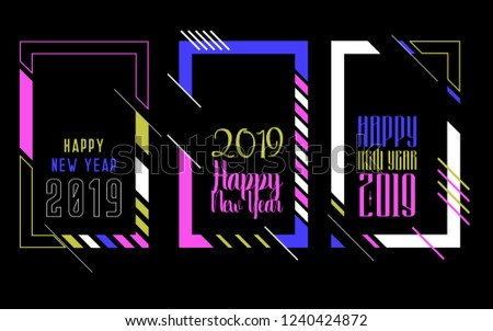 Vector vertical background frame for text Modern Art graphics for hipsters. Happy New Year 2019 design elements for design of gift cards, brochures, flyers, leaflets, posters #1240424872
