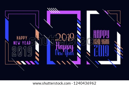 Vector vertical background frame for text Modern Art graphics for hipsters. Happy New Year 2019 design elements for design of gift cards, brochures, flyers, leaflets, posters #1240436962