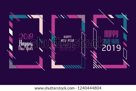Vector vertical background frame for text Modern Art graphics for hipsters. Happy New Year 2019 design elements for design of gift cards, brochures, flyers, leaflets, posters. Set #1240444804