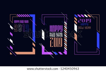 Vector vertical background frame for text Modern Art graphics for hipsters. Happy New Year 2019 design elements for design of gift cards, brochures, flyers, leaflets, posters #1240450963