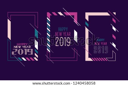 happy new year 2019 vector vertical background frame for text modern art graphics for hipsters
