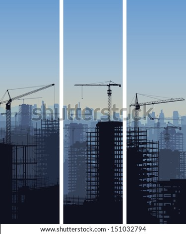 Vector vertical banner of construction site with cranes and skyscraper under construction