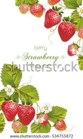 Vector vertical banner with bright colorful strawberry on white background. Design for sweets and pastries filled with strawberry, dessert menu, body care products. With place for text