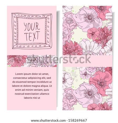 Vector vertical banner with pink flowers hand drawn, save the date
