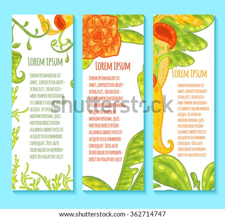 Floral Banners With Carnivorous Plants. Green Leaves, Orange Flower.