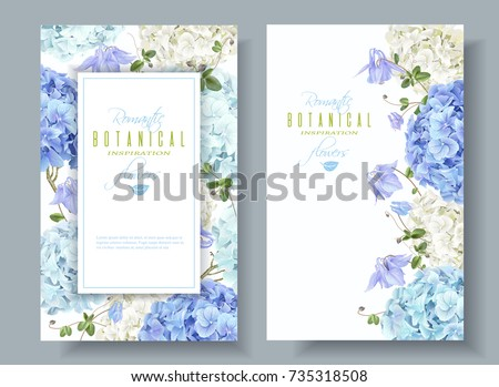 Vector vertical banners with blue and white hydrangea flowers on white background. Floral design for cosmetics, perfume, beauty care products. Can be used as greeting card, wedding illustration #735318508