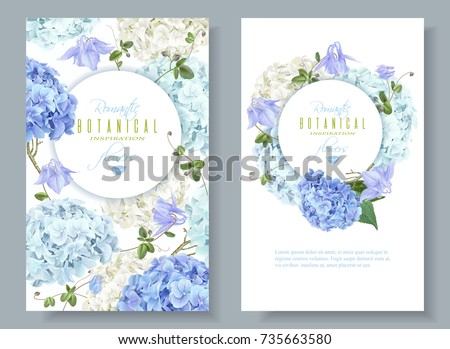 Vector vertical banners with blue and white hydrangea flowers on white background. Floral design for cosmetics, perfume, beauty care products. Can be used as greeting card, wedding illustration
