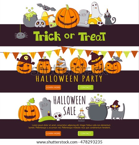 Vector vertical banners with halloween elements. Trick or Treat template banners set in hand drawn style.