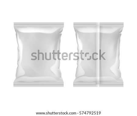 Vector Vertical Sealed Empty Plastic Foil Bag for Package Design with Smooth Edges Back Front View Close up Isolated White Background
