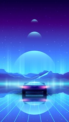 Vector vertical synthwave illustration of futuristic back view car. Road with neon laser grid.