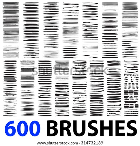 Vector very large collection or set of 600 artistic black paint hand made creative brush strokes isolated on white background, metaphor to art, grunge or grungy, graffiti, education or abstract design